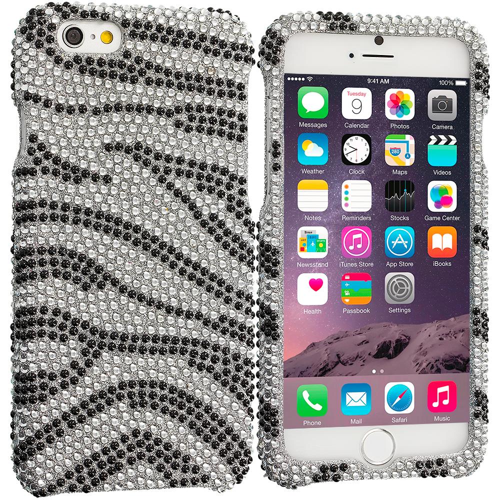 Apple iPhone 6 6S (4.7) Black Silver Zebra Bling Rhinestone Case Cover