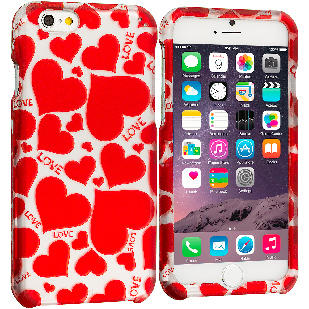 Apple iPhone 6 Plus Hearts w Different Shapes 2D Hard Rubberized Design Case Cover