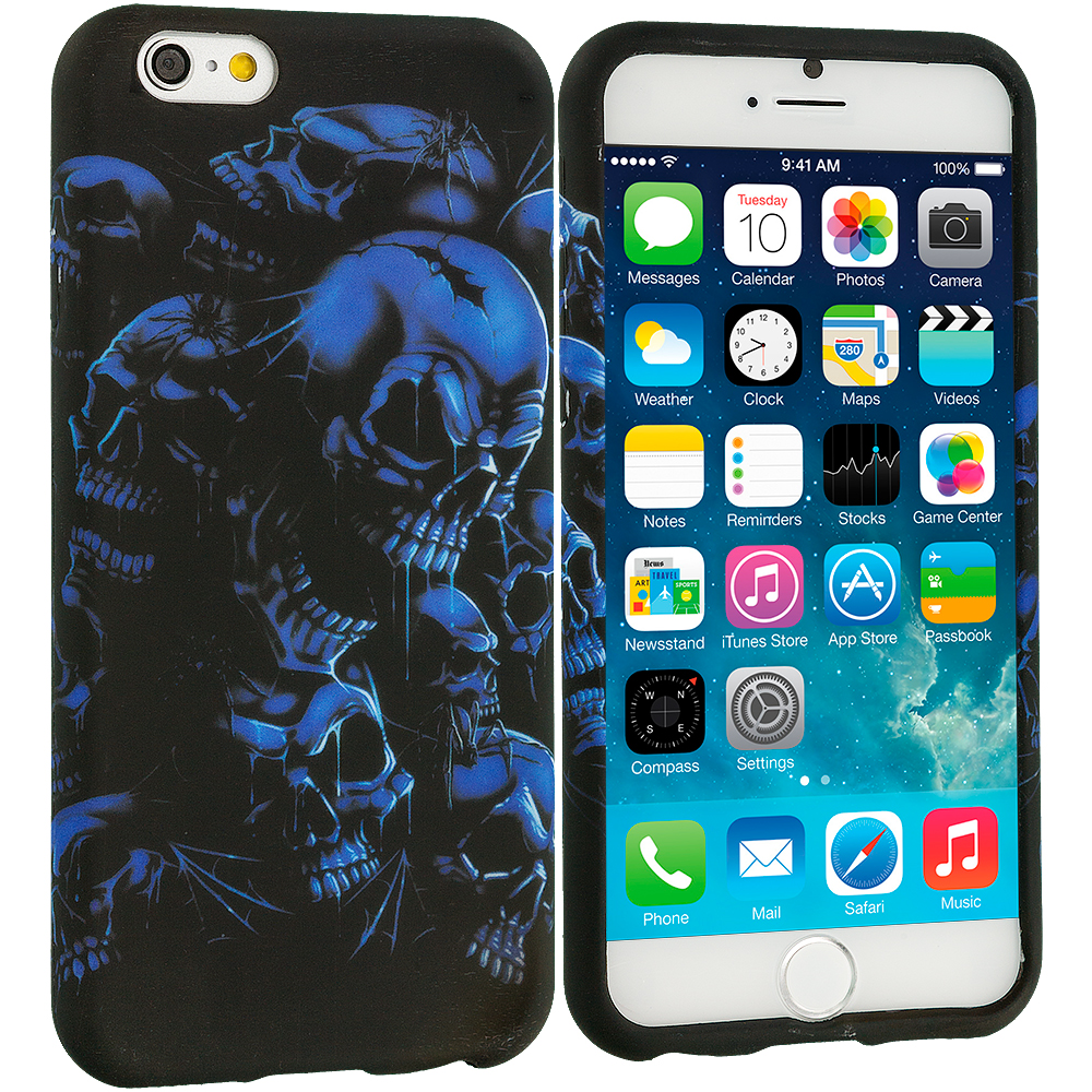 Apple iPhone 6 Plus 6S Plus (5.5) Black Blue Skull TPU Design Soft Rubber Case Cover