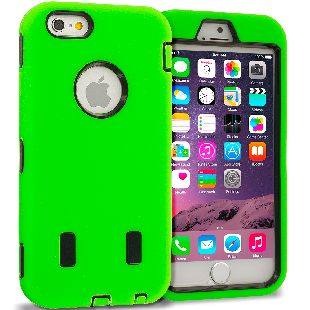 Apple iPhone 6 Plus 6S Plus (5.5) Neon Green / Black Hybrid Deluxe Hard/Soft Case Cover