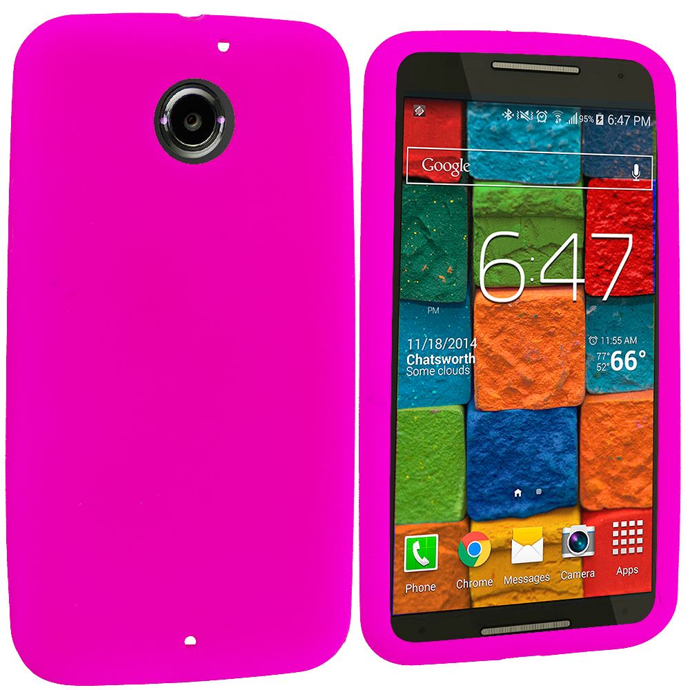 Motorola Moto X 2nd Gen Hot Pink Silicone Soft Skin Rubber Case Cover