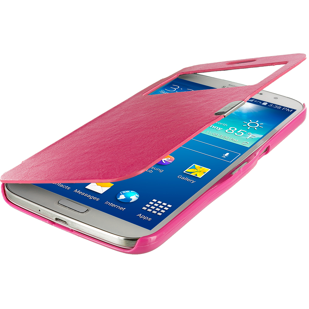 Samsung Galaxy Mega 6.3 Hot Pink (Open) Magnetic Flip Wallet Case Cover Pouch