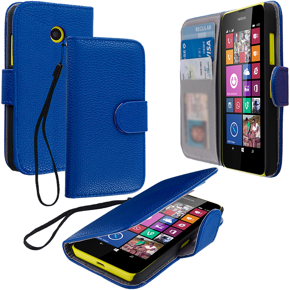 Nokia Lumia 630 635 Blue Leather Wallet Pouch Case Cover with Slots