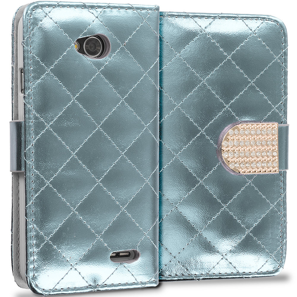 LG Optimus L90 White Luxury Wallet Diamond Design Case Cover With Slots