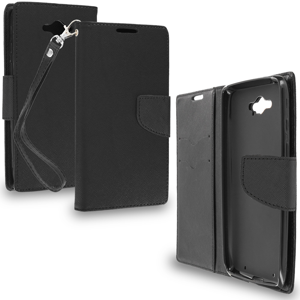 Motorola Droid Turbo Black / Black Leather Flip Wallet Pouch TPU Case Cover with ID Card Slots