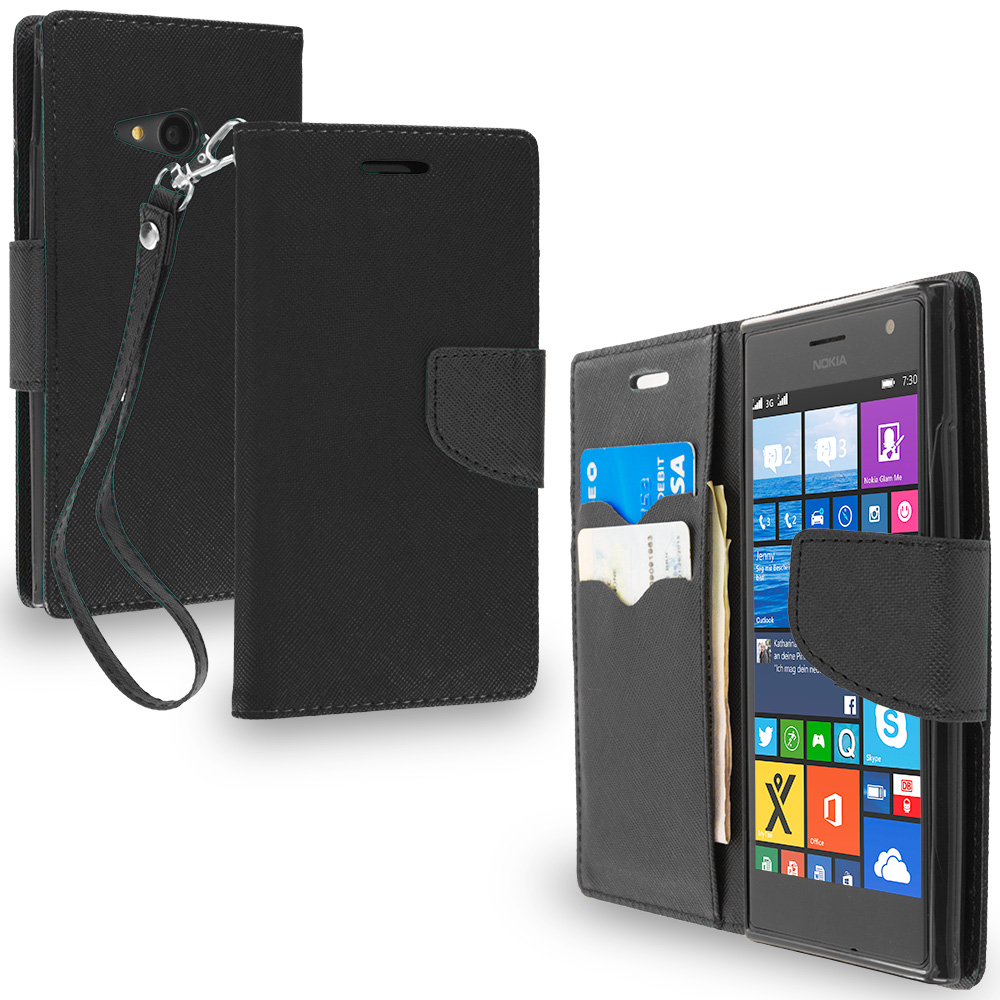 Nokia Lumia 730 735 Black / Black Leather Flip Wallet Pouch TPU Case Cover with ID Card Slots