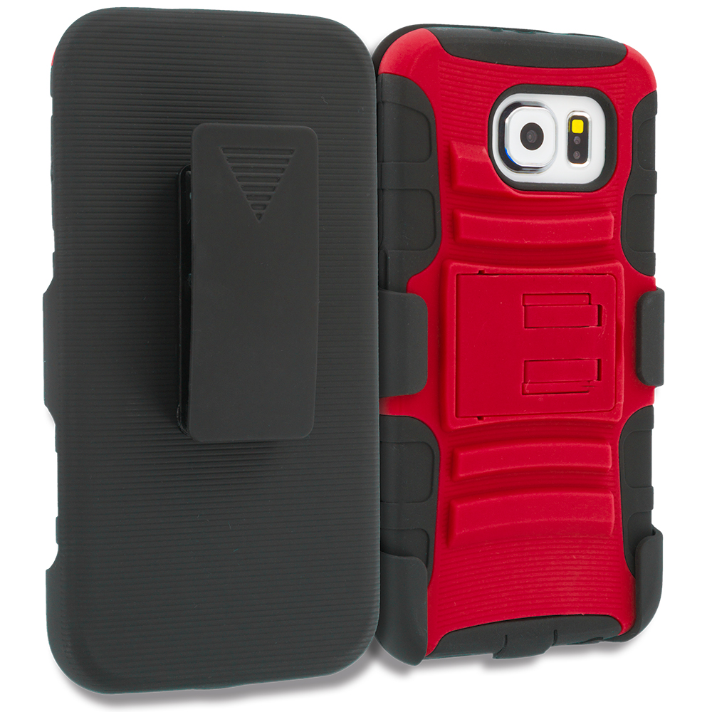 Samsung Galaxy S6 4 in 1 Combo Bundle Pack - Hybrid Heavy Duty Rugged Case Cover with Belt Clip Holster : Color Red Black