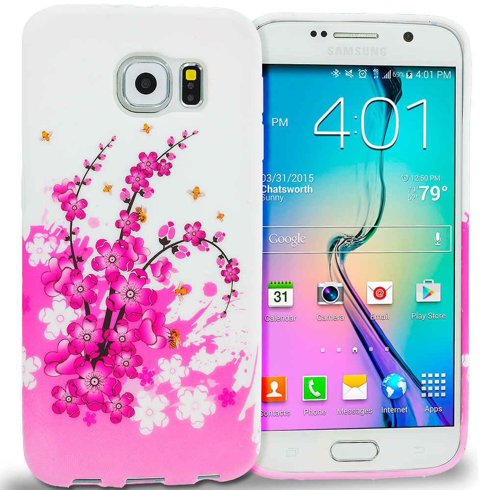 Samsung Galaxy S6 Spring Flowers TPU Design Soft Rubber Case Cover
