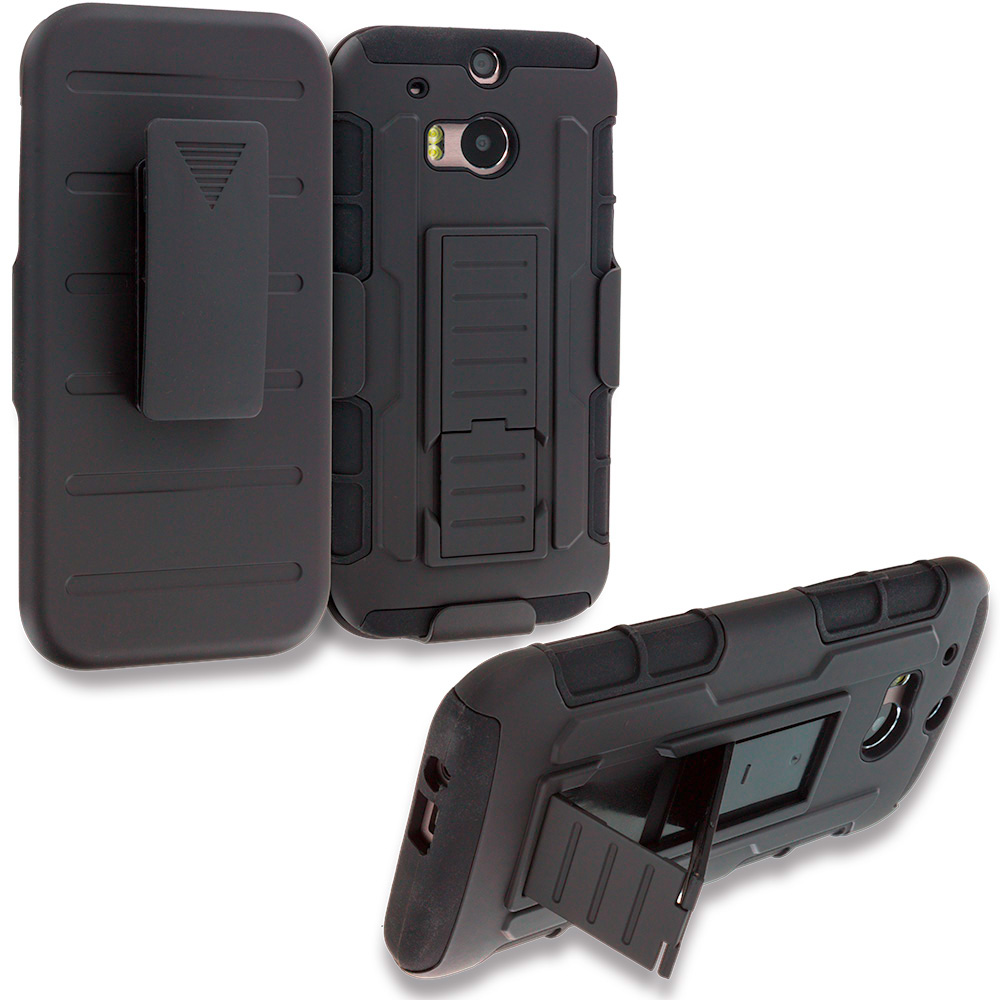 HTC One M9 Black Hybrid Rugged Robot Armor Heavy Duty Case Cover with Belt Clip Holster