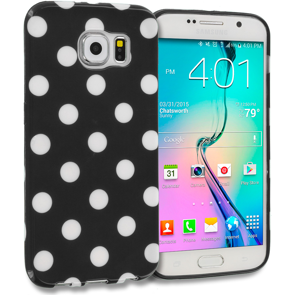 Samsung Galaxy S6 Combo Pack : Black / White TPU Polka Dot Skin Case Cover : Color Black / White