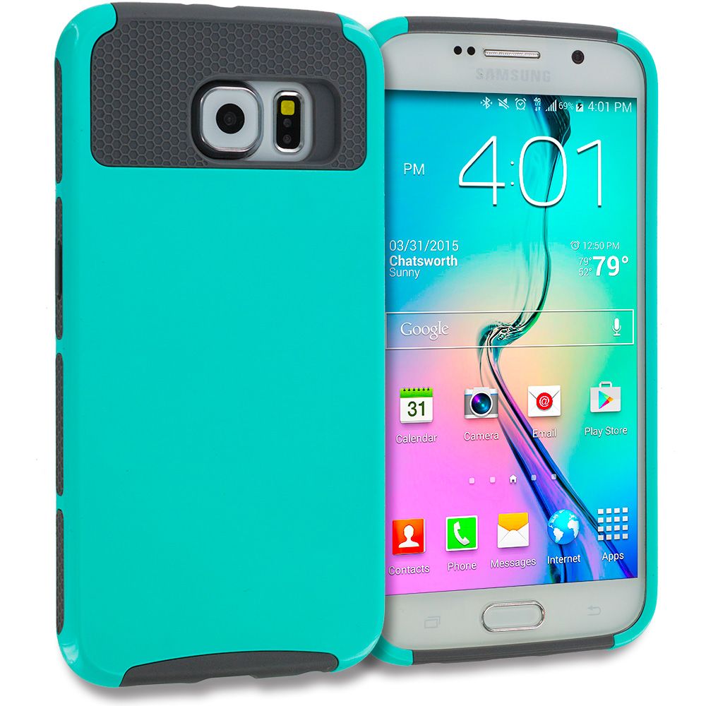 Samsung Galaxy S6 Edge 4 in 1 Combo Bundle Pack - Hybrid Hard TPU Honeycomb Rugged Case Cover : Color Mint Green / Gray
