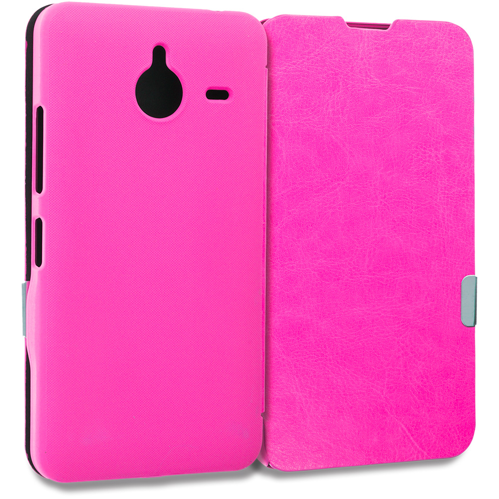 Microsoft Lumia 640 XL Hot Pink Magnetic Flip Wallet Case Cover Pouch