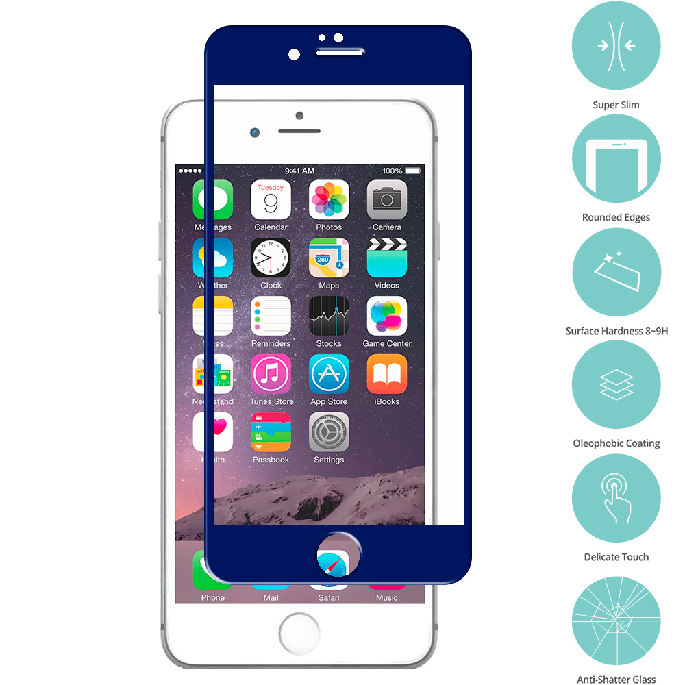 Apple iPhone 6 Plus 6S Plus (5.5) Blue Tempered Glass Film Screen Protector Colored