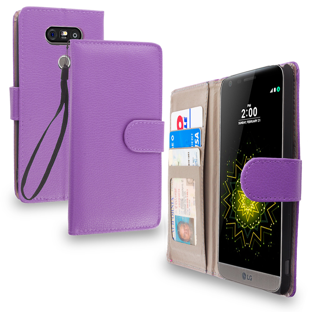 LG G5 Purple Leather Wallet Pouch Case Cover with Slots
