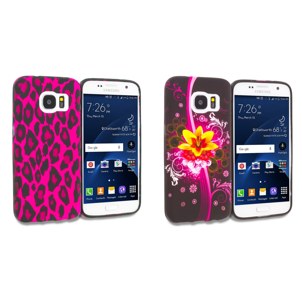 Samsung Galaxy S7 Combo Pack : Hot Pink Leopard TPU Design Soft Rubber Case Cover
