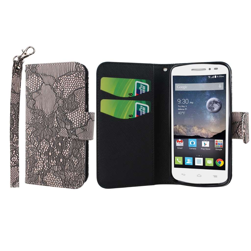Alcatel OneTouch POP Astro - Black Lace MPERO FLEX FLIP Wallet Case Cover
