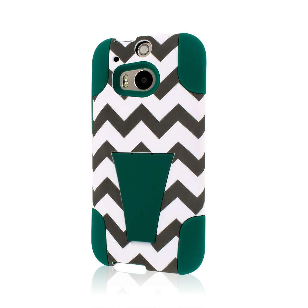 HTC One M8 - Teal Chevron MPERO IMPACT X - Kickstand Case Cover