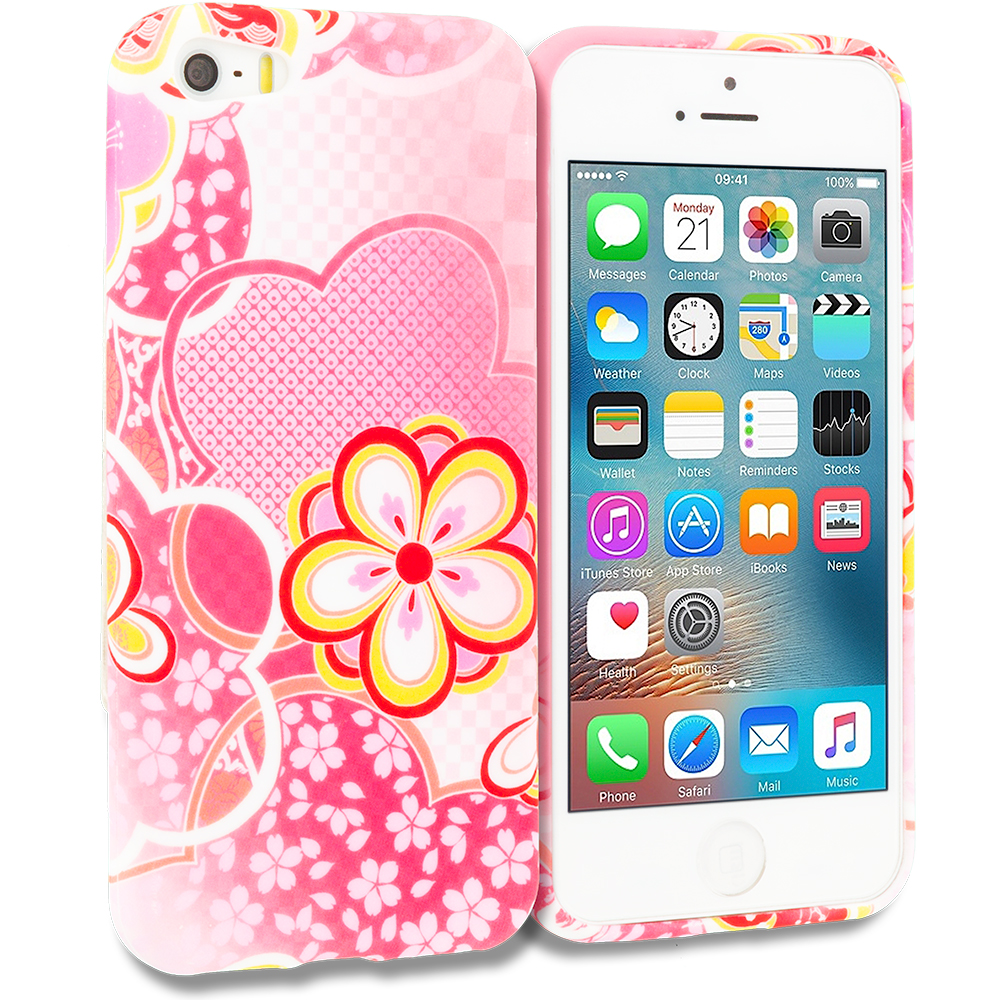 Apple iPhone 5/5S/SE Combo Pack : Pink Colorful Butterfly TPU Design Soft Rubber Case Cover : Color Pink Fairy Tale
