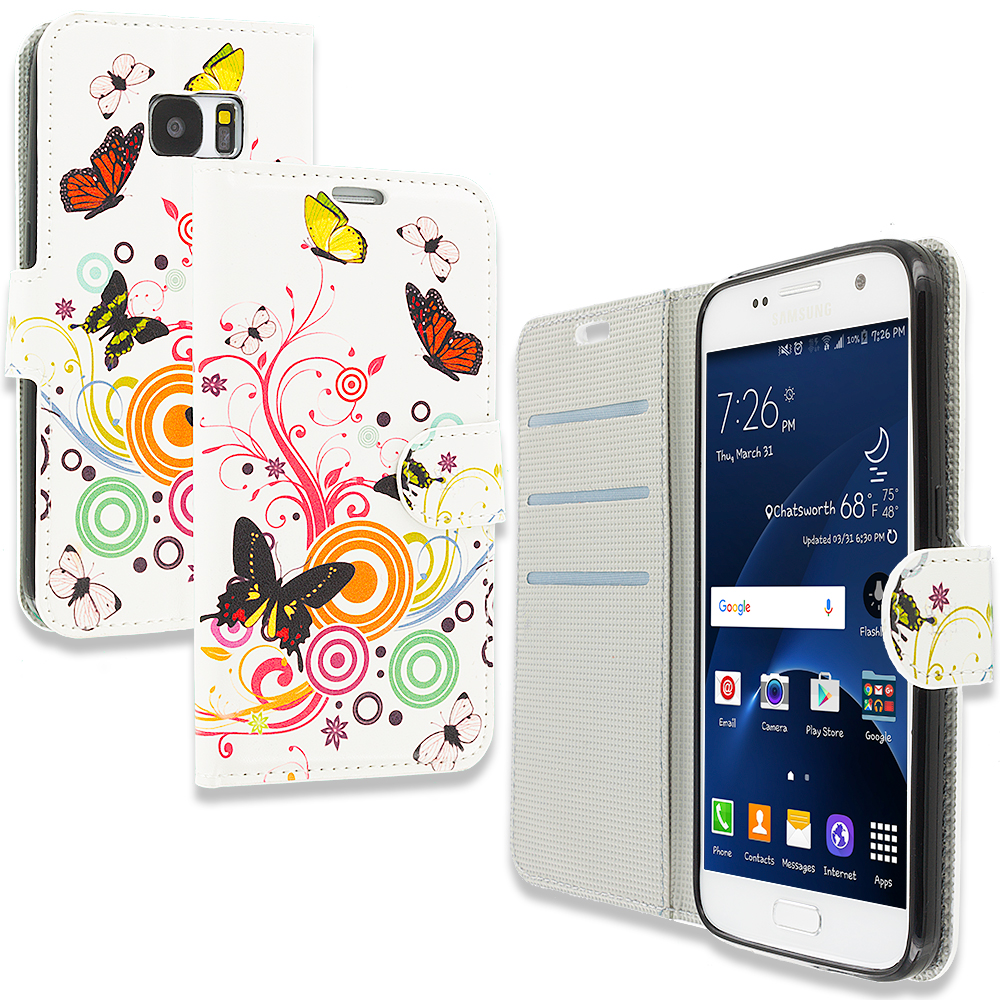 Samsung Galaxy S7 Autumn Flower Design Wallet Flip Pouch Case Cover with Credit Card ID Slots