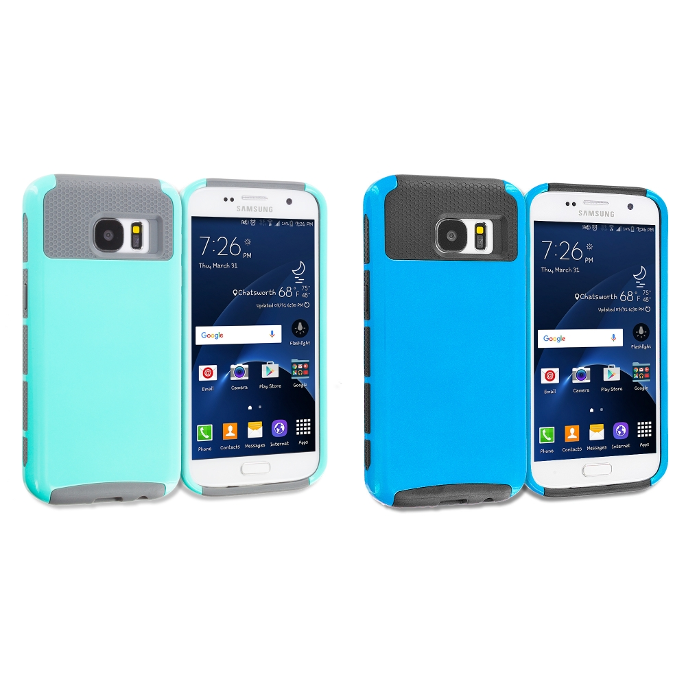 Samsung Galaxy S7 Combo Pack : Mint Green / Gray Hybrid Hard TPU Honeycomb Rugged Case Cover