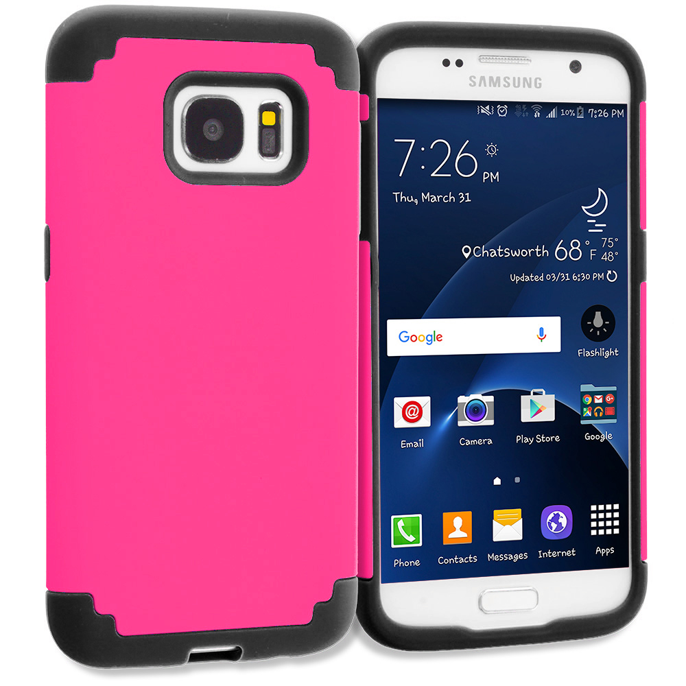 Samsung Galaxy S7 Combo Pack : Blue / Black Hybrid Slim Hard Soft Rubber Impact Protector Case Cover : Color Hot Pink / Black
