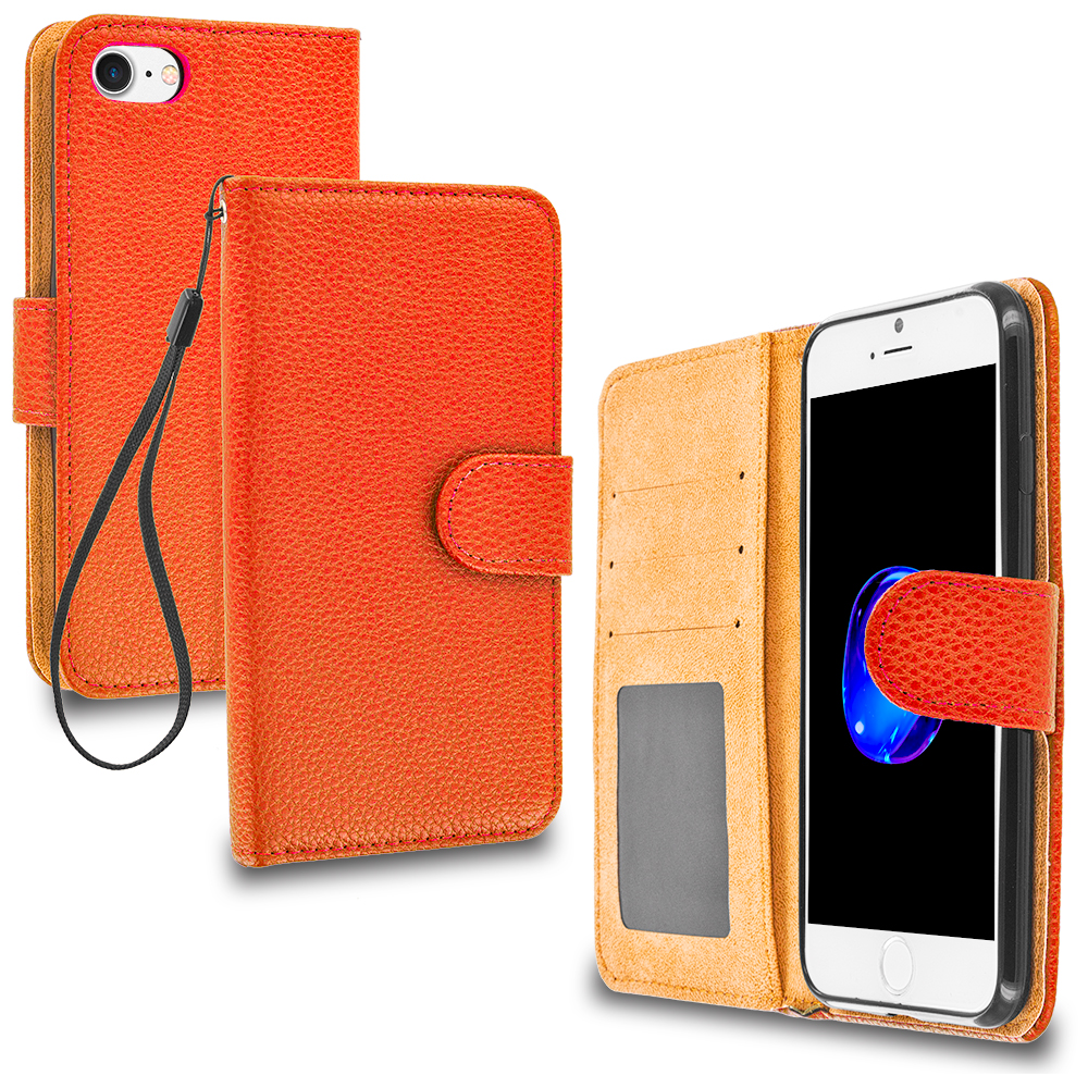 Apple iPhone 7 Orange Leather Wallet Pouch Case Cover with Slots