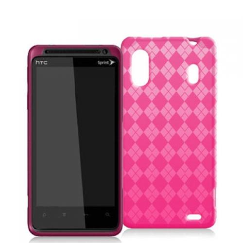 HTC EVO Design 4G Hot Pink Checkered TPU Rubber Skin Case Cover