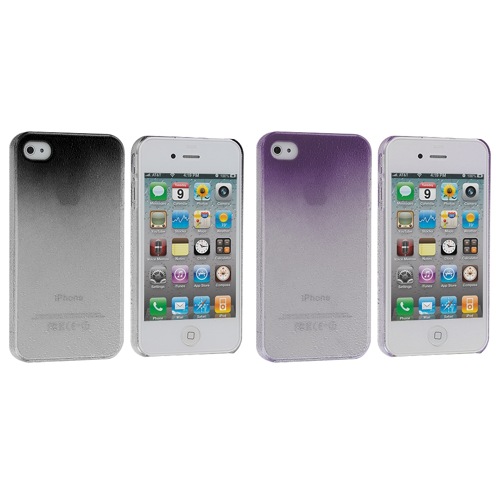 Apple iPhone 4 / 4S 2 in 1 Combo Bundle Pack - Black Purple Crystal Raindrop Hard Case Cover