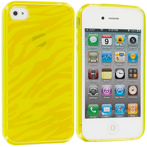 Apple iPhone 4 / 4S 2 in 1 Combo Bundle Pack - Yellow Orange Zebra TPU Rubber Skin Case Cover : Color Yellow Zebra