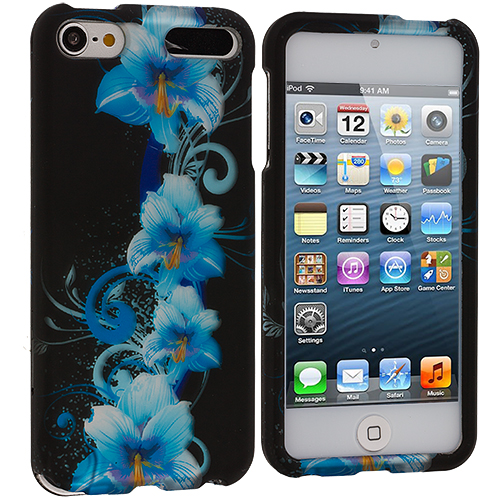 Apple iPod Touch 5th 6th Generation Blue Flower Hard Rubberized Design Case Cover
