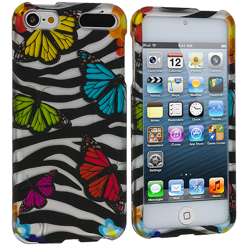 Apple iPod Touch 5th 6th Generation Rainbow Butterfly Zebra Hard Rubberized Design Case Cover
