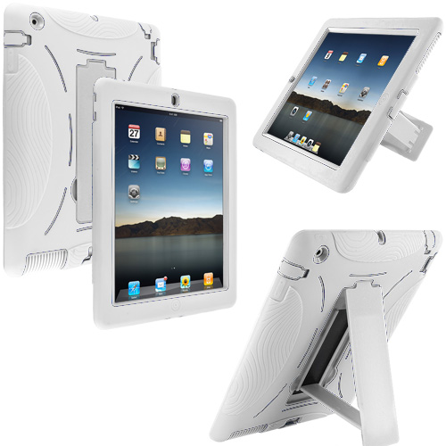 Apple iPad 4th 3rd 2nd Gen White / White Hybrid Heavy Duty Hard/Soft Case Cover with Stand