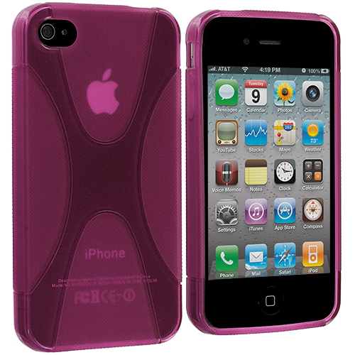 Apple iPhone 4 / 4S Hot Pink X-Line TPU Rubber Skin Case Cover