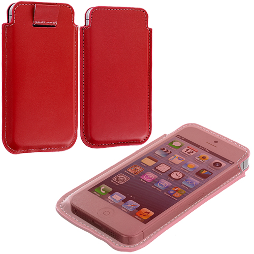 Apple iPhone 5/5S/SE Combo Pack : Pink Sleeve Pouch : Color Red