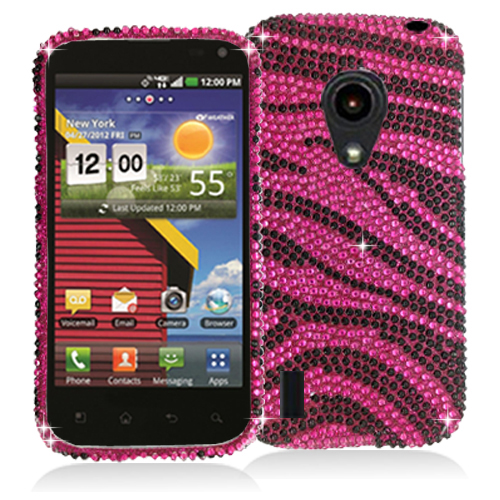 LG Lucid 2 VS870 Black / Hot Pink Zebra Bling Rhinestone Case Cover