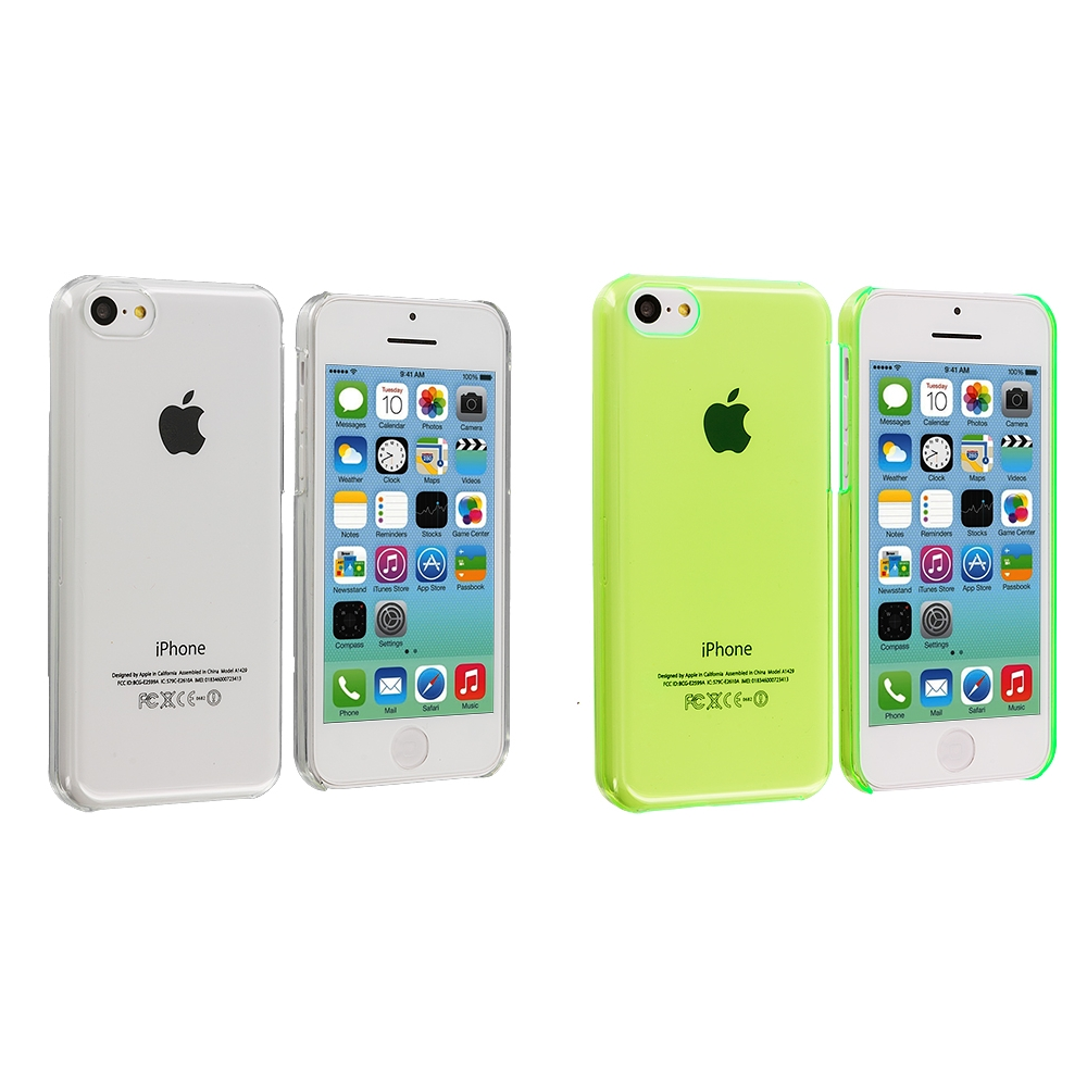 Apple iPhone 5C 2 in 1 Combo Bundle Pack - Clear Green Transparent Crystal Hard Back Cover Case