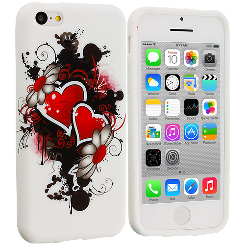 Apple iPhone 5C Red Hearts TPU Design Soft Case Cover
