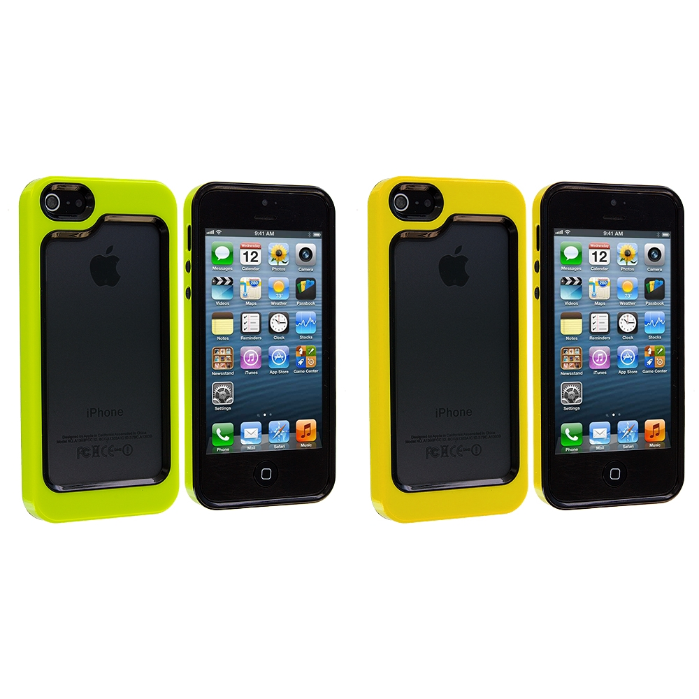 Apple iPhone 5 Combo Pack : Black / Neon Green Hybrid TPU Bumper Case Cover