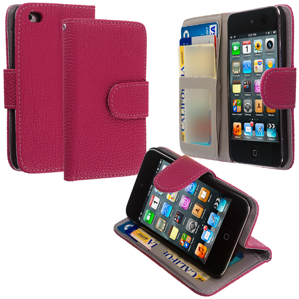 Apple iPod Touch 4th Generation Hot Pink Leather Wallet Pouch Case Cover with Slots