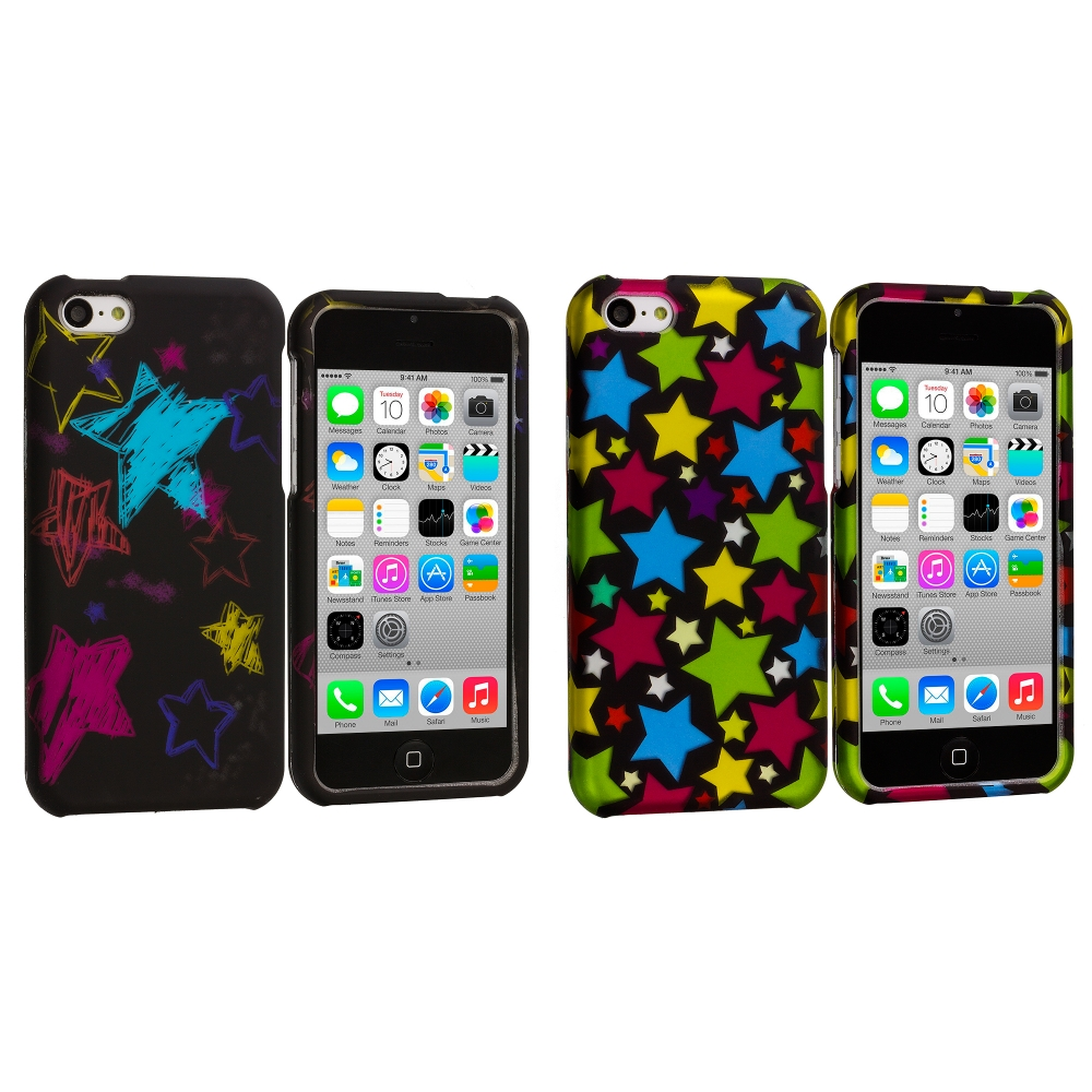 Apple iPhone 5C 2 in 1 Combo Bundle Pack - Star Clan Hard Rubberized Design Case Cover