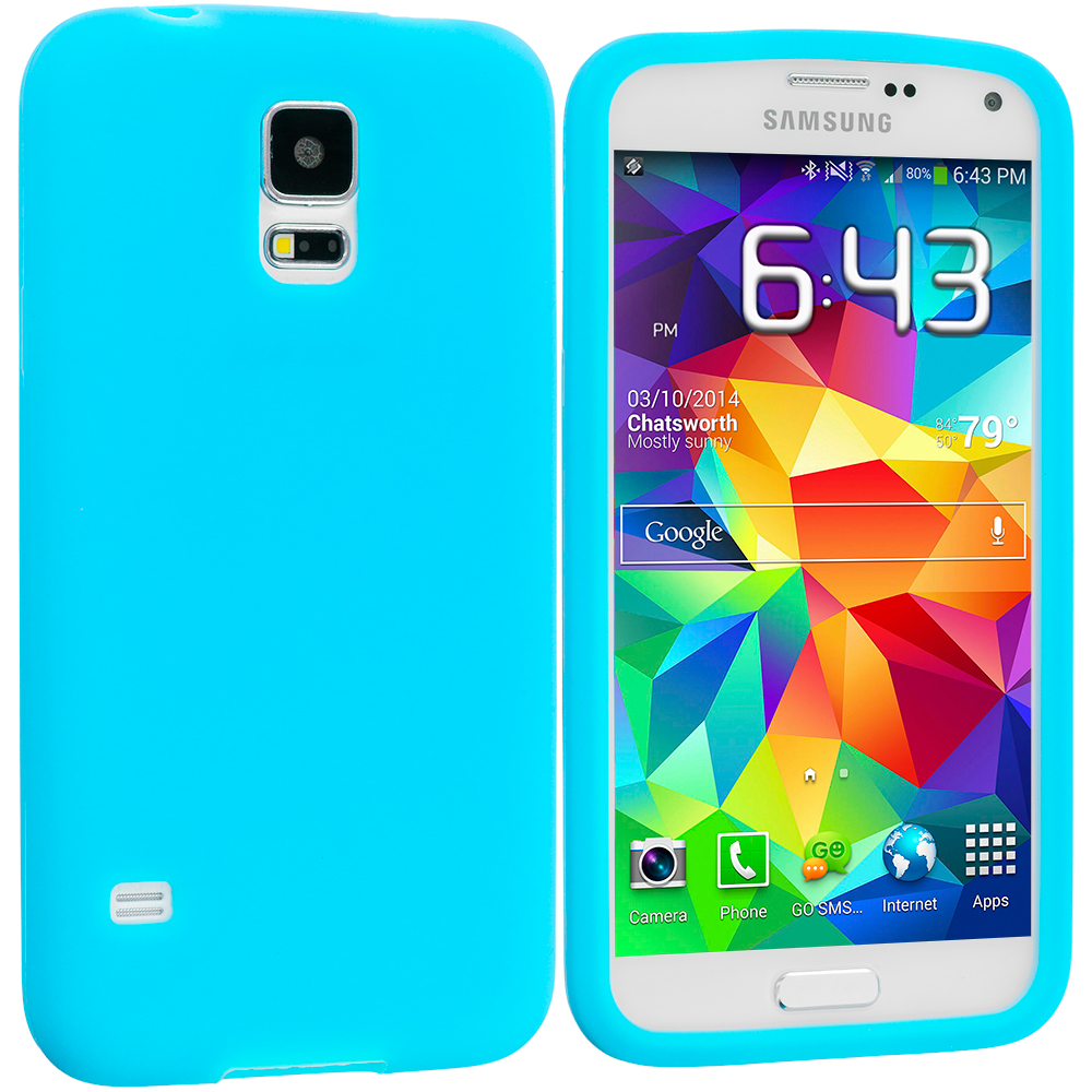 Samsung Galaxy S5 Baby Blue Silicone Soft Skin Case Cover