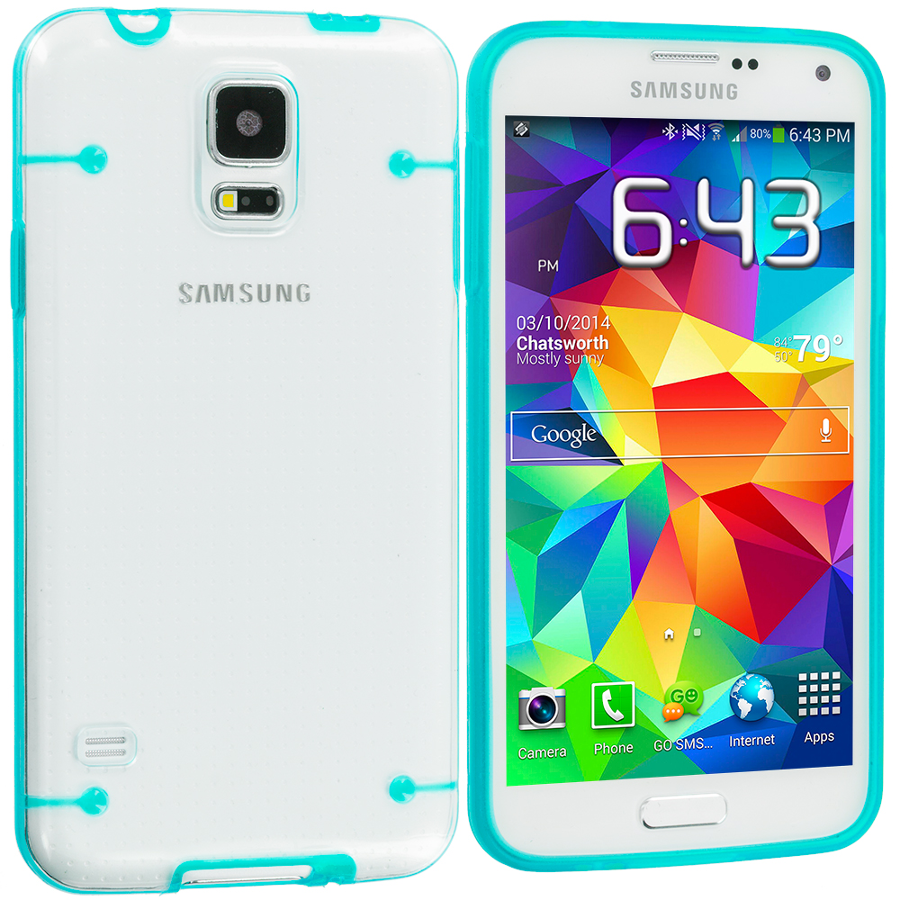 Samsung Galaxy S5 Baby Blue Crystal Robot Hard Case Cover