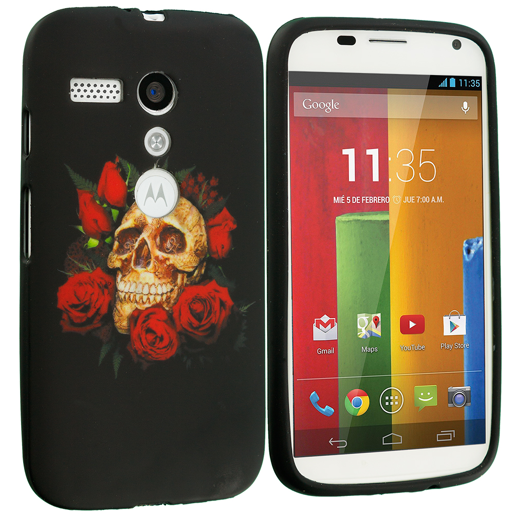 Motorola Moto G Red Rose Skull TPU Design Soft Case Cover