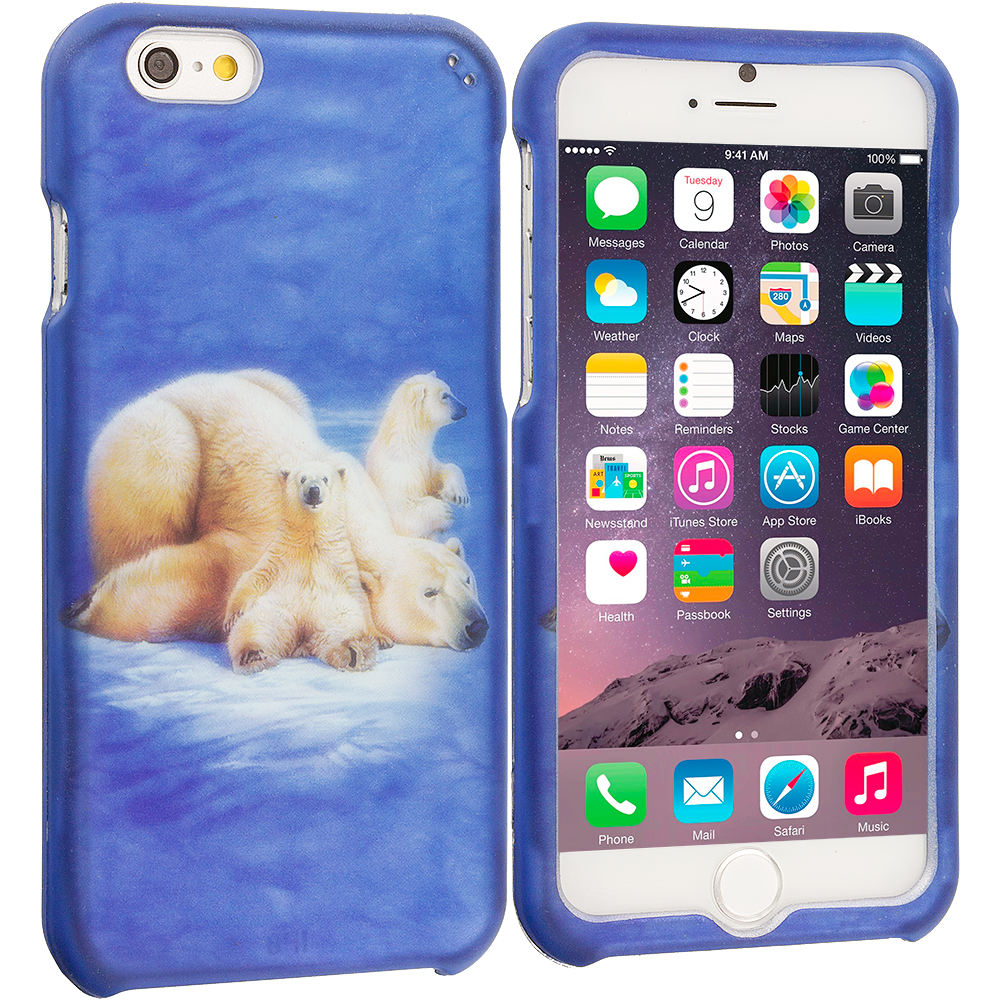 Apple iPhone 6 6S (4.7) Polar Bear 2D Hard Rubberized Design Case Cover