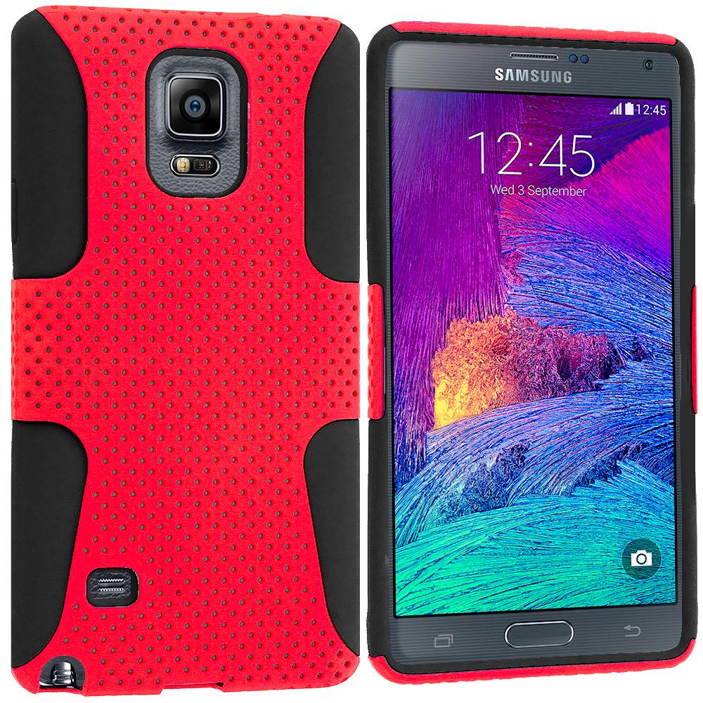 Samsung Galaxy Note 4 Black / Red Hybrid Mesh Hard/Soft Case Cover