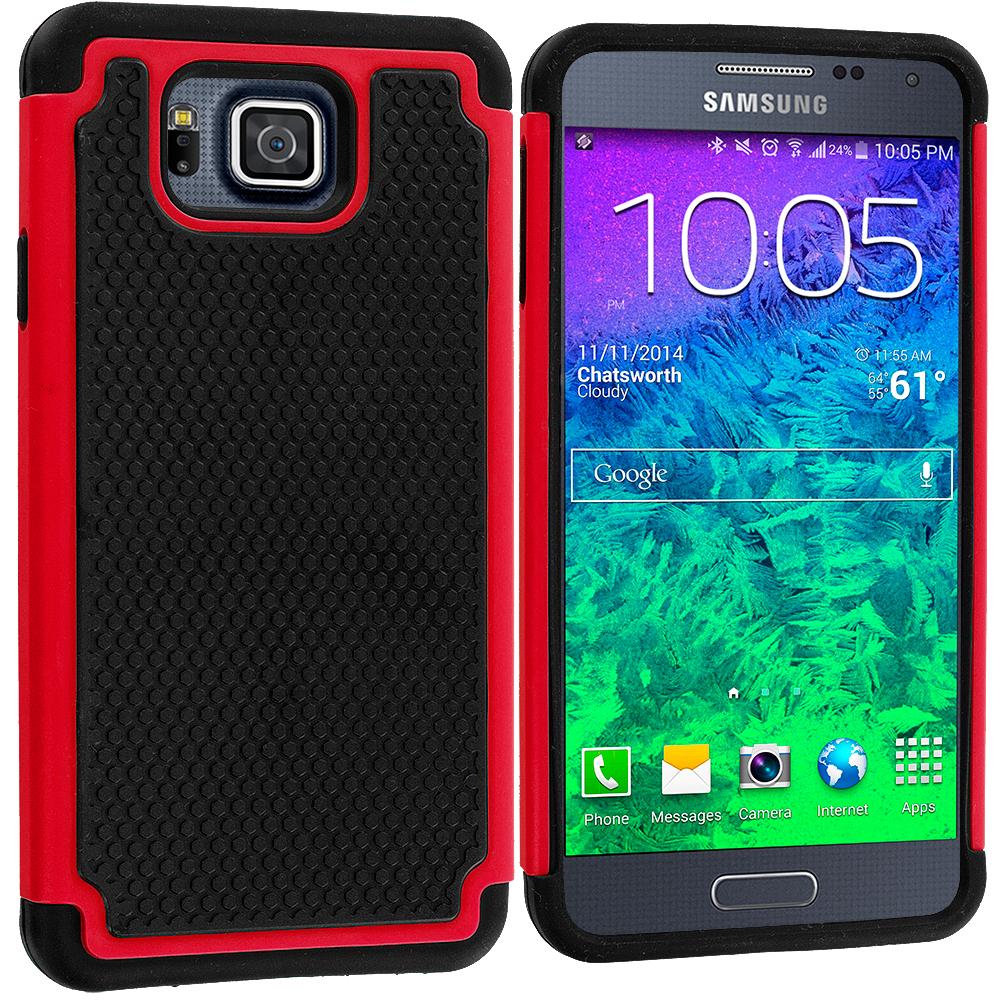 Samsung Galaxy Alpha G850 Black / Red Hybrid Rugged Grip Shockproof Case Cover
