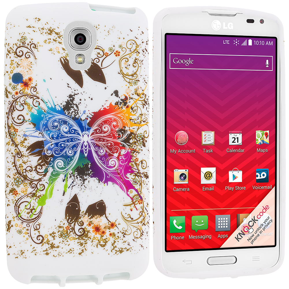 LG Volt LS740 Colorful Butterfly TPU Design Soft Rubber Case Cover