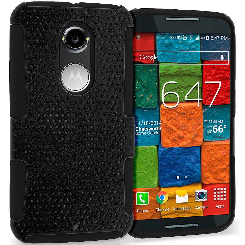 Motorola Moto X 2nd Gen Black / Black Hybrid Mesh Hard/Soft Case Cover