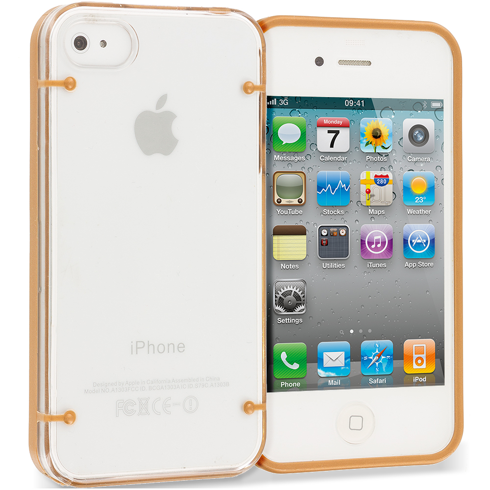 Apple iPhone 4 / 4S Gold Crystal Robot Hard TPU Case Cover