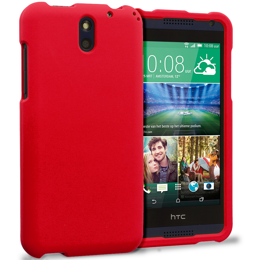 HTC Desire 610 Red Hard Rubberized Case Cover